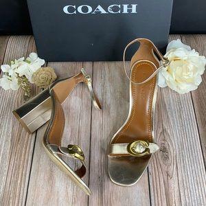 Coach Gold Metallic Heeled Sandals 10M